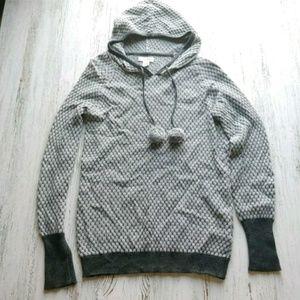 Shirking Violet Hooded Sweater Wool Blend Pom Poms